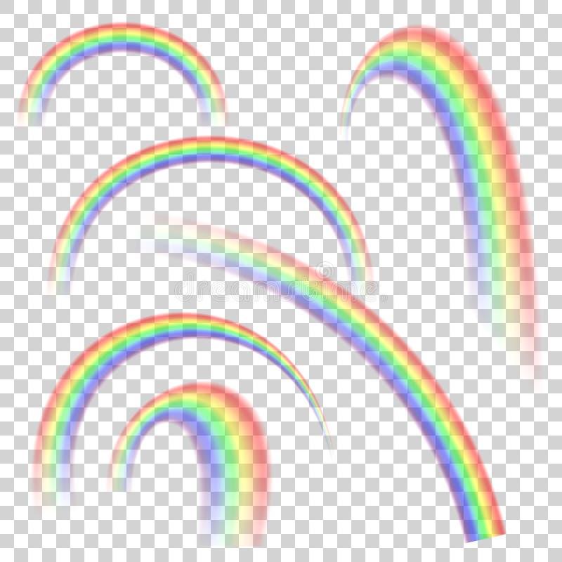 Ρεαλιστικό διαφανές ουράνιο τόξο που τίθεται στις διαφορετικές μορφές Διανυσματική ανασκόπηση απεικόνιση αποθεμάτων