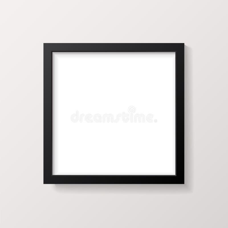 Ρεαλιστικό κενό μαύρο τετραγωνικό πρότυπο πλαισίων εικόνων απεικόνιση αποθεμάτων