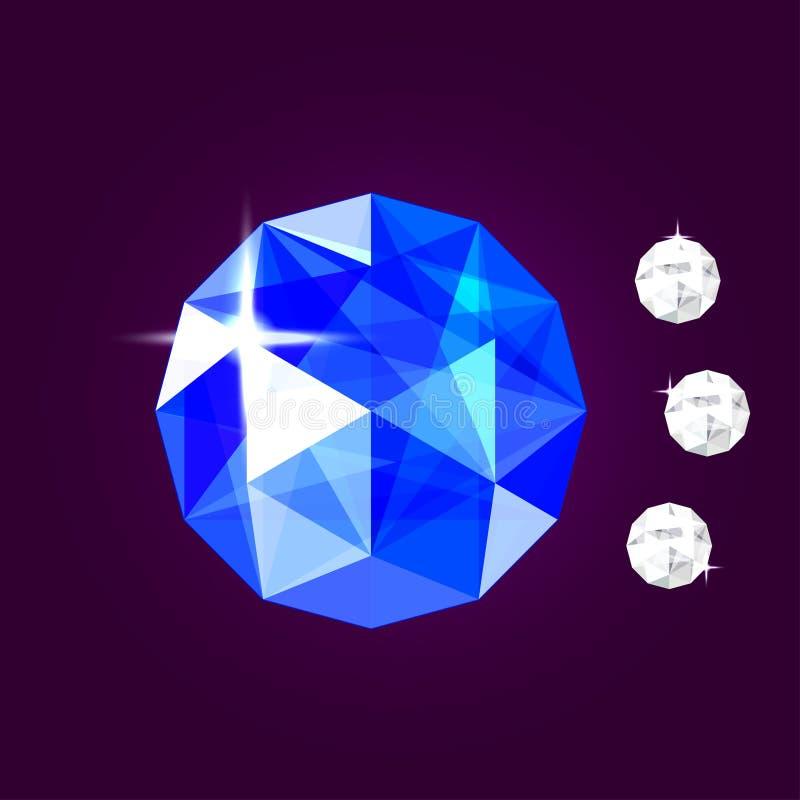 Ρεαλιστικό κόσμημα σαπφείρου gem επίσης corel σύρετε το διάνυσμα απεικόνισης απεικόνιση αποθεμάτων