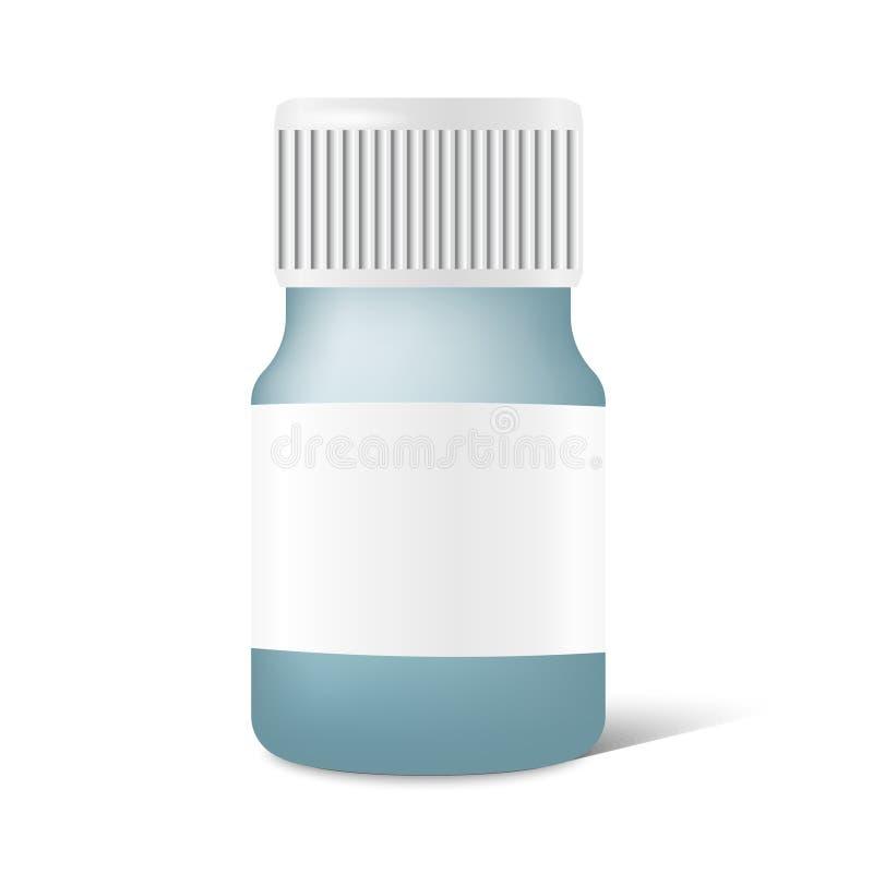 Ρεαλιστικό μπουκάλι ιατρικής με την ετικέτα στο διάνυσμα διανυσματική απεικόνιση