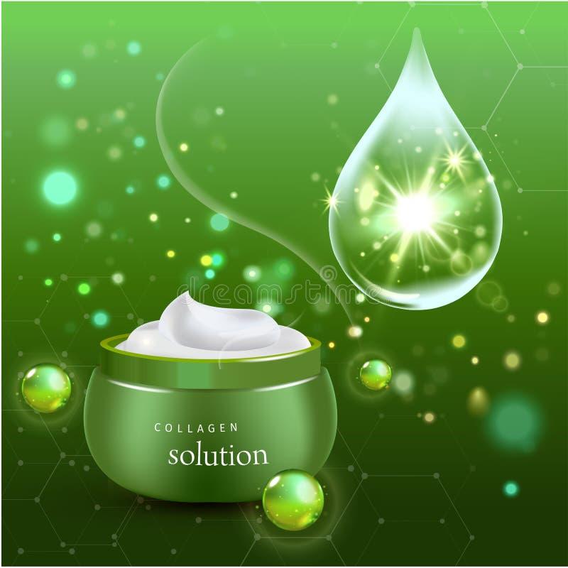 Ρεαλιστικό μπουκάλι κρέμας κολλαγόνων στο πράσινο υπόβαθρο επίσης corel σύρετε το διάνυσμα απεικόνισης διανυσματική απεικόνιση