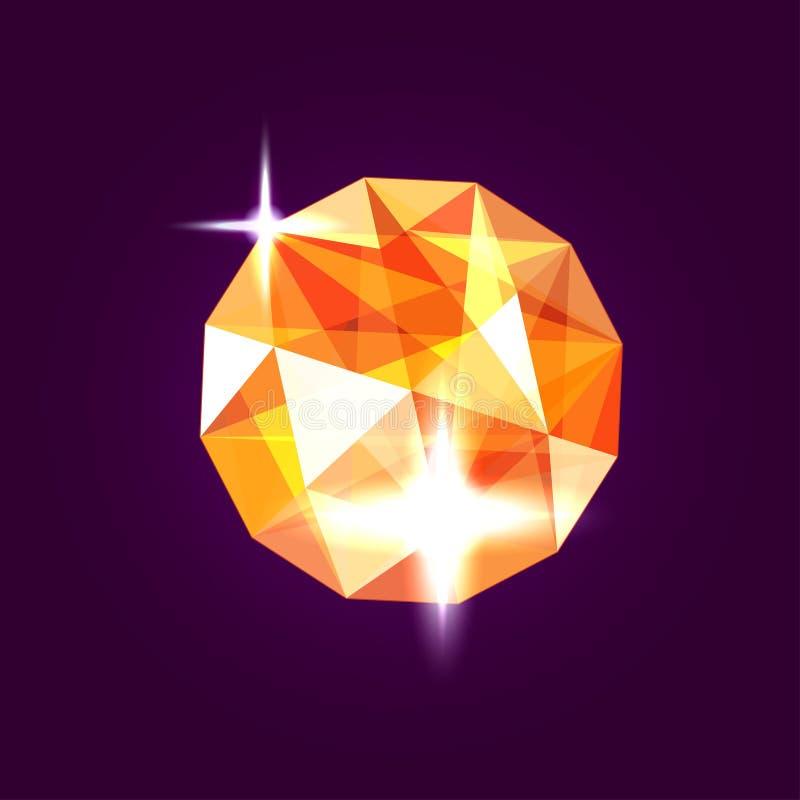 Ρεαλιστικό πορτοκαλί κόσμημα topaz gem επίσης corel σύρετε το διάνυσμα απεικόνισης διανυσματική απεικόνιση