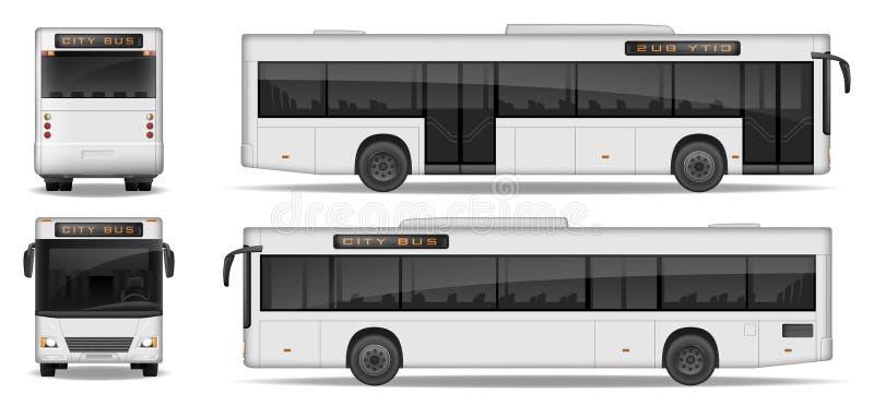 Ρεαλιστικό πρότυπο λεωφορείων πόλεων που απομονώνεται στο άσπρο υπόβαθρο Μεταφορά πόλεων επιβατών για το σχέδιο διαφήμισης Λεωφορ απεικόνιση αποθεμάτων