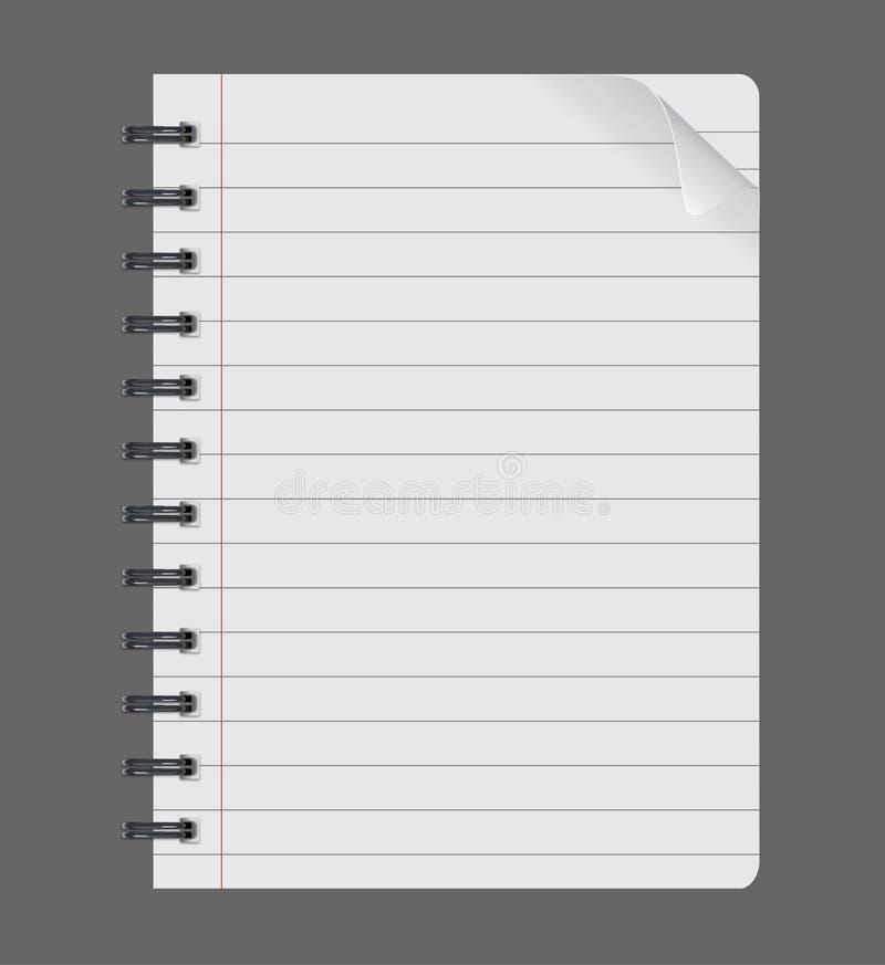 Ρεαλιστικό σπειροειδές σημειωματάριο σημειωματάριων στο γκρίζο υπόβαθρο, φύλλο εγγράφου απεικόνιση αποθεμάτων