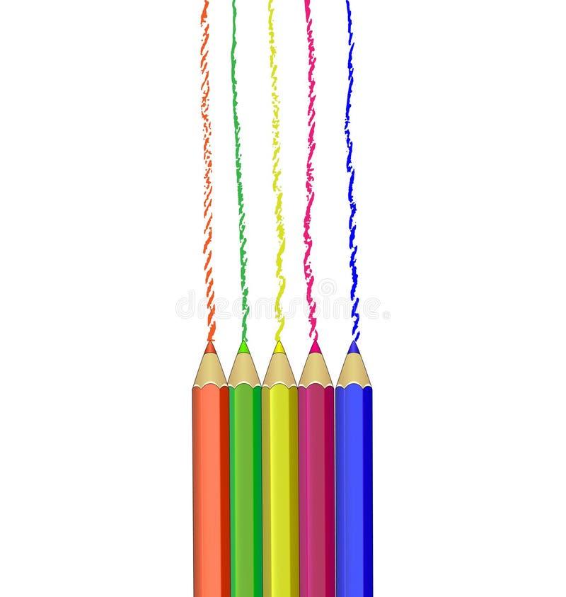 Ρεαλιστικό σύνολο ζωηρόχρωμων χρωματισμένων μολυβιών ελεύθερη απεικόνιση δικαιώματος
