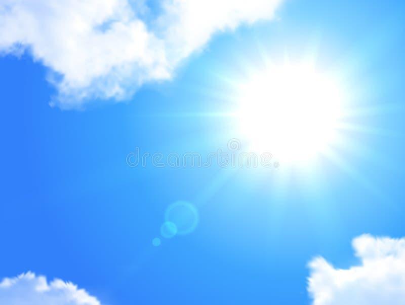 Ρεαλιστικό υπόβαθρο ήλιων και ουρανού απεικόνιση αποθεμάτων
