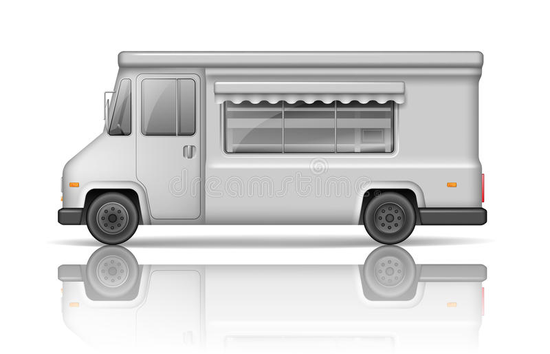 Ρεαλιστικό φορτηγό τροφίμων που απομονώνεται στο λευκό Φορτηγό γρήγορου φαγητού ή παγωτού ελεύθερη απεικόνιση δικαιώματος