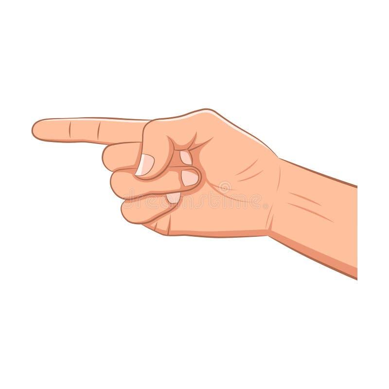 Ρεαλιστικό χέρι με την υπόδειξη του δάχτυλου διανυσματική απεικόνιση