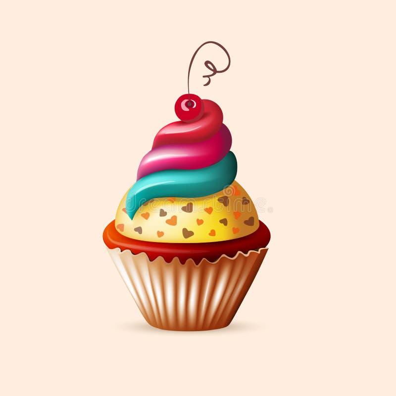 Ρεαλιστικό cupcake στο λευκό ελεύθερη απεικόνιση δικαιώματος