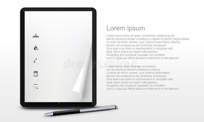 Ρεαλιστικό PC ταμπλετών στο λευκό διανυσματική απεικόνιση