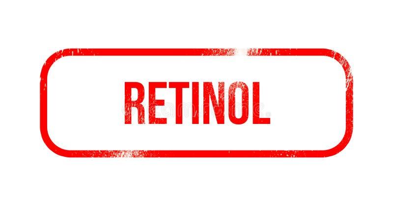 Ρετινόλη - κόκκινο λάστιχο grunge, γραμματόσημο απεικόνιση αποθεμάτων