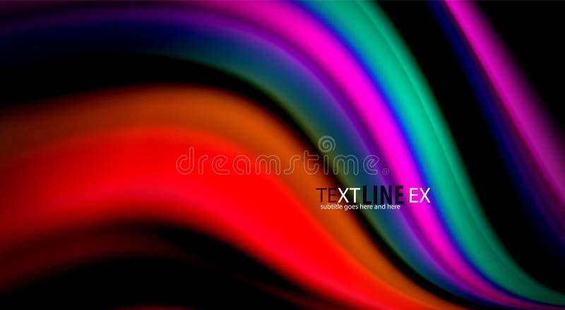 Ρευστά χρώματα ουράνιων τόξων στο μαύρο υπόβαθρο, τις διανυσματικούς γραμμές κυμάτων και τους στροβίλους διανυσματική απεικόνιση