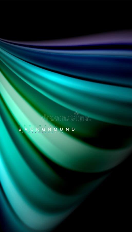 Ρευστό που αναμιγνύει τα χρώματα, διανυσματικό αφηρημένο υπόβαθρο κυμάτων απεικόνιση αποθεμάτων