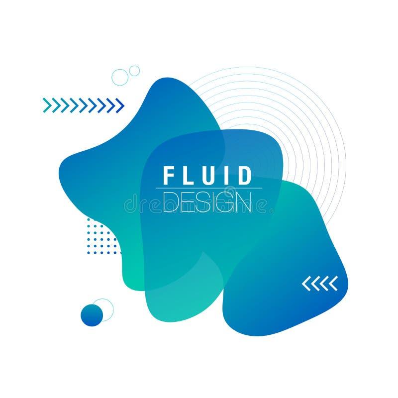 Ρευστό σχέδιο των υγρών αφηρημένων γεωμετρικών μορφών χρώματος Ρευστά στοιχεία κλίσης για το ελάχιστο έμβλημα, λογότυπο, κοινωνικ διανυσματική απεικόνιση