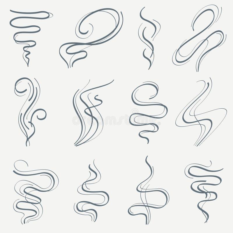 Ρεύμα γραμμών αρώματος και καπνού Διανυσματικό σύνολο ιχνών μυρωδιάς γραμμικό ελεύθερη απεικόνιση δικαιώματος