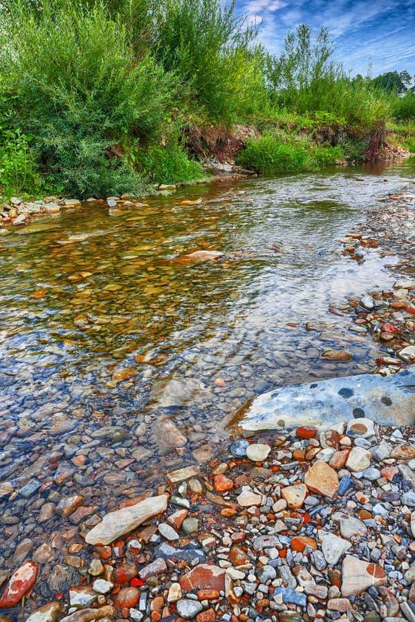 Ρεύμα ποταμών βουνών του νερού στους βράχους με το μεγαλοπρεπές μπλε s στοκ εικόνα με δικαίωμα ελεύθερης χρήσης
