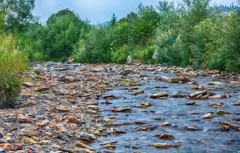 Ρεύμα ποταμών βουνών του νερού στους βράχους με το μεγαλοπρεπές μπλε s στοκ φωτογραφία