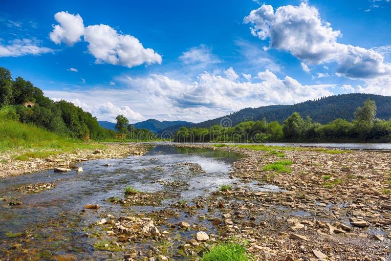 Ρεύμα ποταμών βουνών του νερού στους βράχους με το μπλε ουρανό στοκ εικόνες