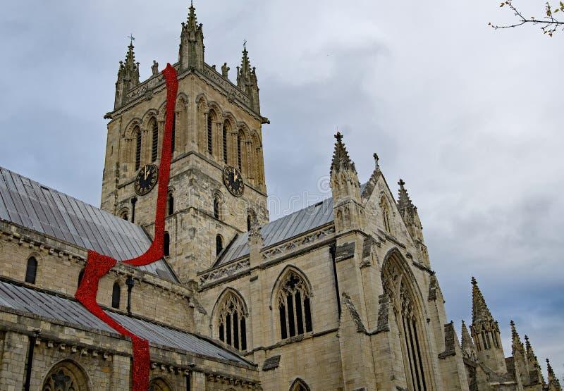 Ρεύμα των εκατονταετηρίδας παπαρουνών από την κορυφή του πύργου του καθεδρικού ναού Selby στοκ φωτογραφίες