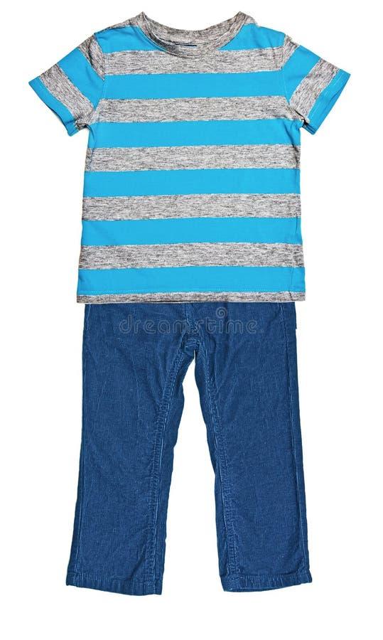 Ριγωτή μπλε μπλούζα και μπλε velveteen παντελόνι στοκ εικόνες