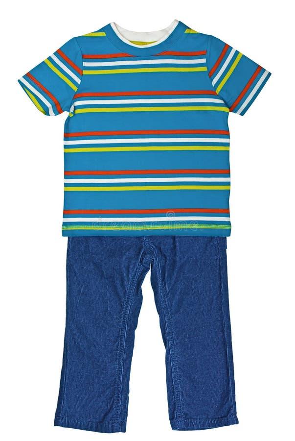 Ριγωτή μπλε μπλούζα και μπλε velveteen παντελόνι στοκ φωτογραφίες με δικαίωμα ελεύθερης χρήσης