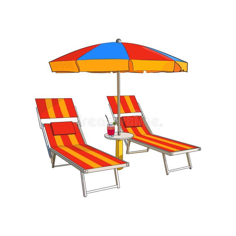 Ριγωτή ομπρέλα παραλιών και δύο καρέκλες παραλιών σε ένα άσπρο υπόβαθρο απεικόνιση αποθεμάτων