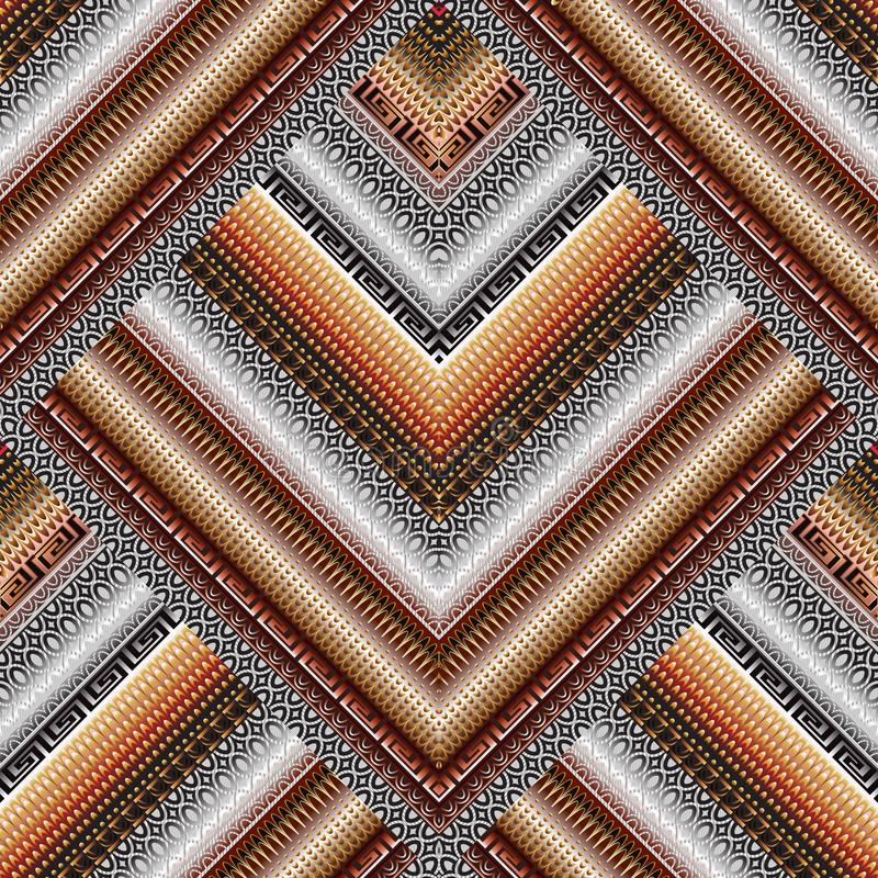 Ριγωτό γεωμετρικό άνευ ραφής σχέδιο συνόρων Διαμορφωμένος κεραμωμένος rhom ελεύθερη απεικόνιση δικαιώματος