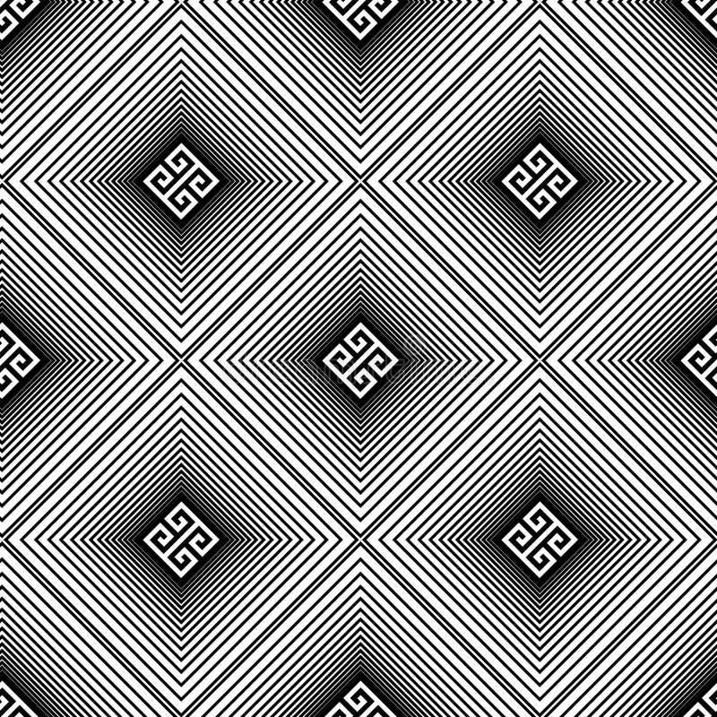 Ριγωτό διανυσματικό τρισδιάστατο άνευ ραφής σχέδιο βαφλών Ελληνικό διακοσμητικό γραπτό γεωμετρικό υπόβαθρο Δονούμενο σκηνικό τέχν ελεύθερη απεικόνιση δικαιώματος