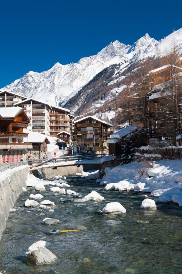 Ποταμός σε Zermatt, Ελβετία στοκ φωτογραφία