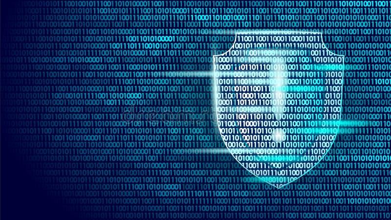 Ροή δυαδικού κώδικα συστημάτων ασφάλειας φρουράς ασπίδων Μεγάλη επιχειρησιακή έννοια αντιιών υπολογιστών επίθεσης χάκερ ασφαλείας διανυσματική απεικόνιση