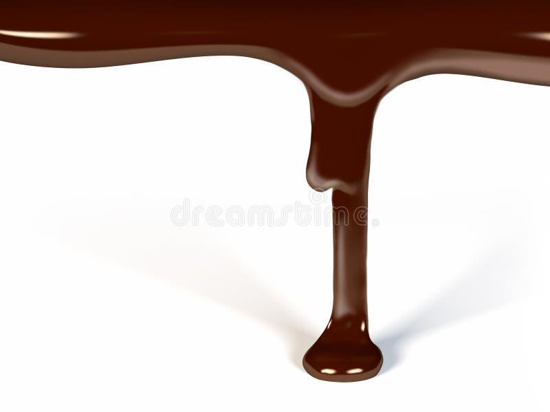 Ροή σοκολάτας που απομονώνεται στην άσπρη τρισδιάστατη απεικόνιση διανυσματική απεικόνιση