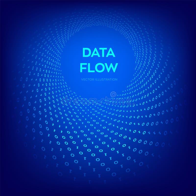 Ροή στοιχείων τρισδιάστατη ταπετσαρία αντικειμένου κώδικα ψηφιακή δυαδική ροή στοιχείων Μεγάλα στοιχεία Εικονική στρέβλωση σηράγγ ελεύθερη απεικόνιση δικαιώματος