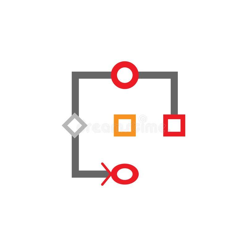 Ροή της δουλειάς, εικονίδιο σχεδίου Στοιχείο του εικονιδίου Desing Ιστού για την κινητούς έννοια και τον Ιστό apps Η λεπτομερής ρ απεικόνιση αποθεμάτων