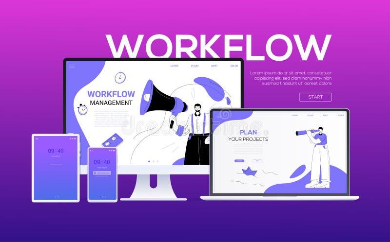 Ροή της δουλειάς - επίπεδο σχεδίου έμβλημα Ιστού ύφους ζωηρόχρωμο απεικόνιση αποθεμάτων