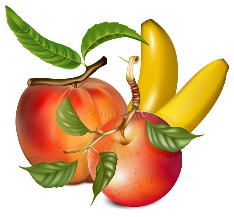 ροδάκινο μπανανών μήλων ώριμ&om απεικόνιση αποθεμάτων