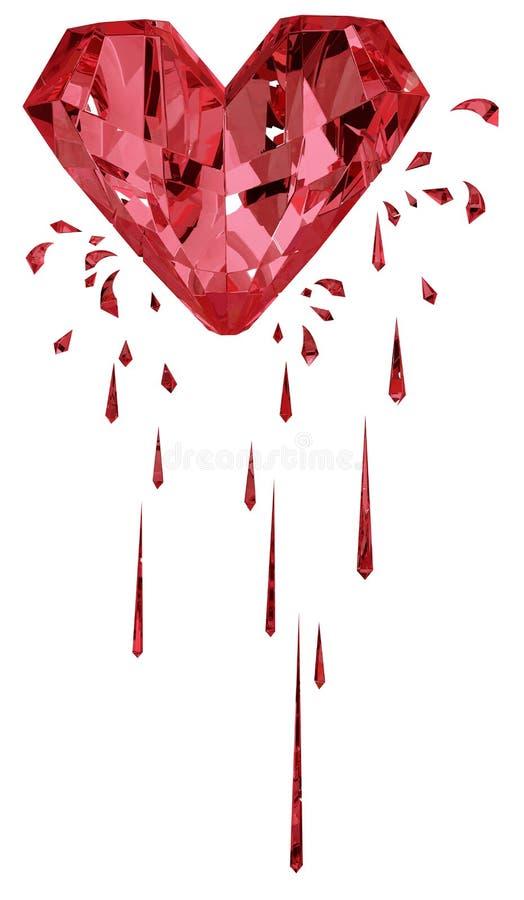 Ροδοκόκκινη αιμορραγώντας καρδιά διανυσματική απεικόνιση
