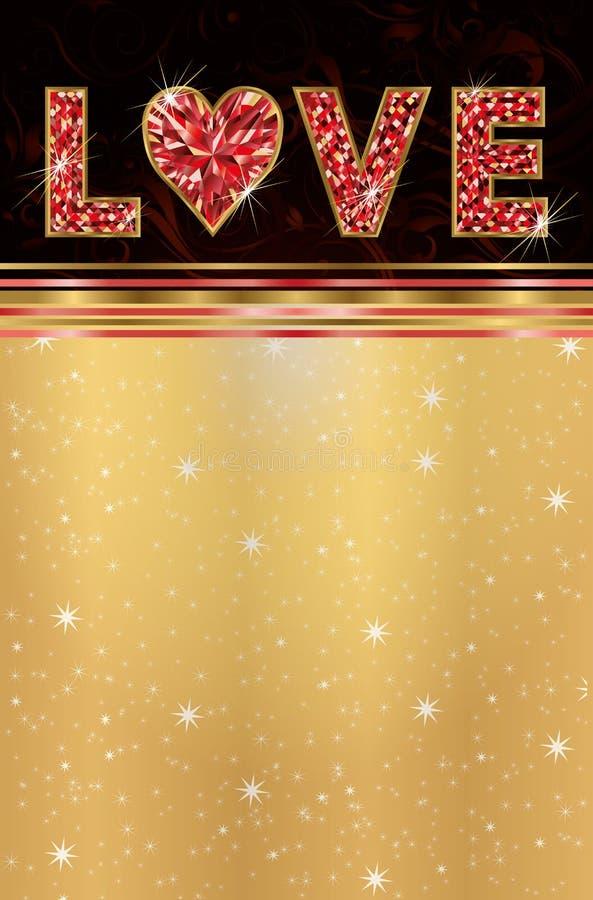 Ροδοκόκκινη ευχετήρια κάρτα αγάπης ελεύθερη απεικόνιση δικαιώματος