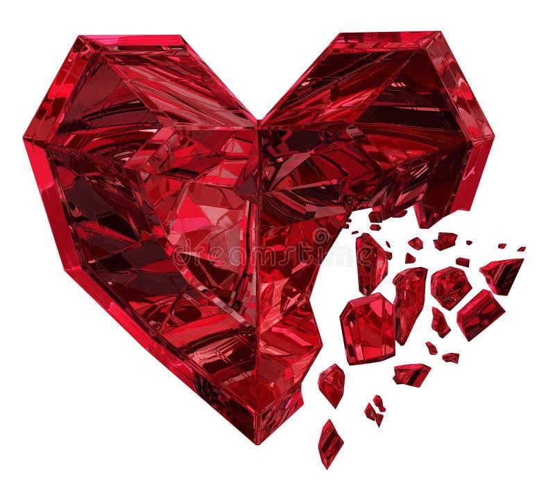 Ροδοκόκκινο σπάσιμο καρδιών απεικόνιση αποθεμάτων