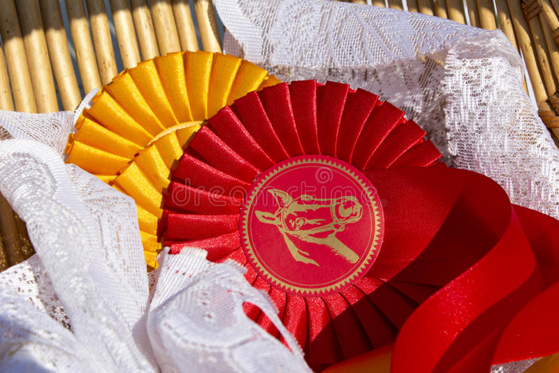 Ροζέτες βραβείων στον ιππικό αθλητισμό με τα κόκκινα και κίτρινα χρώματα στοκ εικόνες με δικαίωμα ελεύθερης χρήσης