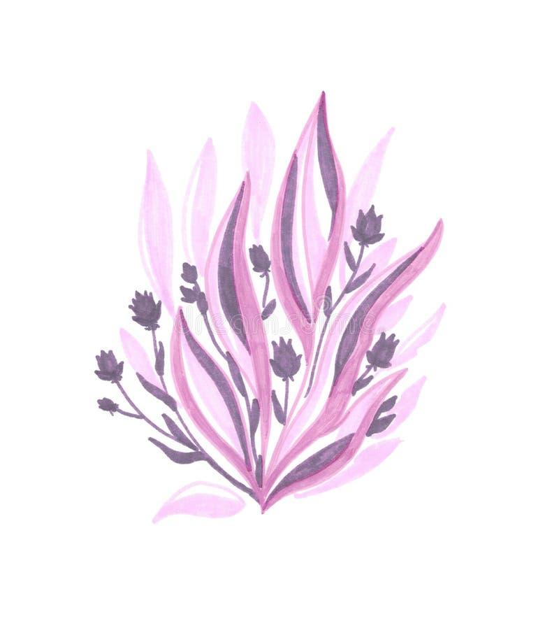 Ροζ θάμνος με μοβ λουλούδια διανυσματική απεικόνιση