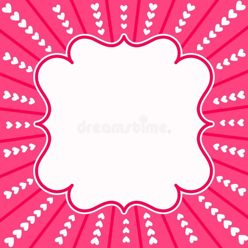 Ροζ κάρτα ημέρας βαλεντίνων ακτίνων καρδιών απεικόνιση αποθεμάτων