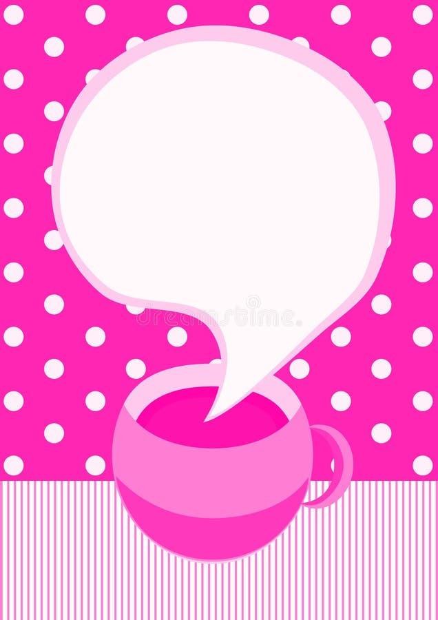Ροζ κάρτα πρόσκλησης φλυτζανιών καφέ απεικόνιση αποθεμάτων
