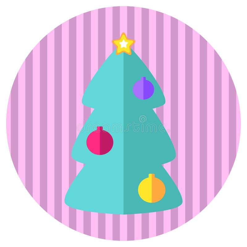 Ροζ και επίπεδο εικονίδιο ύφους δέντρων έλατου μεντών Αναδρομικά Χριστούγεννα ύφους ή νέο γραμματόσημο ή λογότυπο έτους με το δέν διανυσματική απεικόνιση