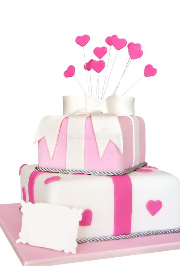 ροζ καρδιών κέικ στοκ εικόνα με δικαίωμα ελεύθερης χρήσης