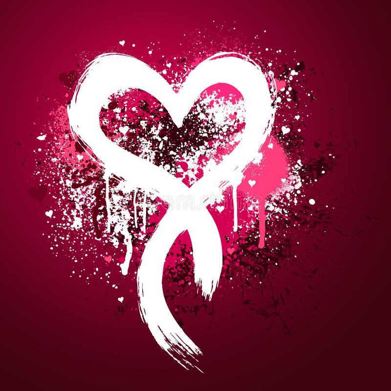ροζ καρδιών σχεδίου grunge απεικόνιση αποθεμάτων