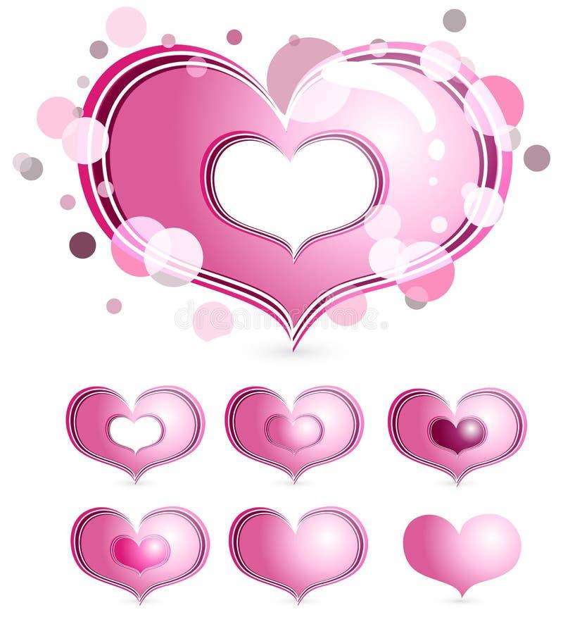 ροζ καρδιών φυσαλίδων διανυσματική απεικόνιση