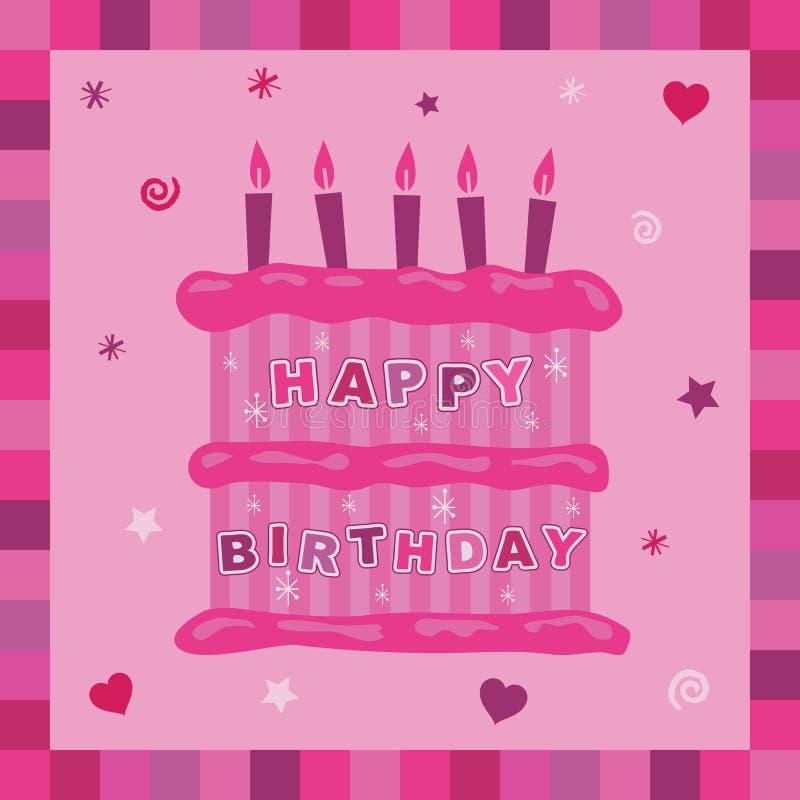 ροζ καρτών κέικ γενεθλίων διανυσματική απεικόνιση