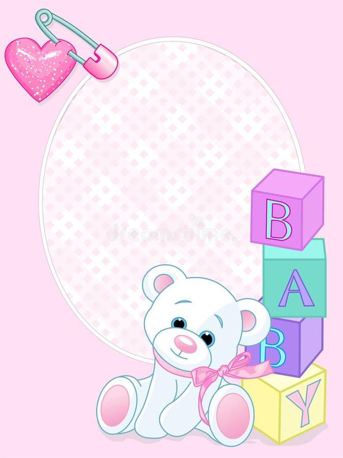 ροζ καρτών μωρών άφιξης διανυσματική απεικόνιση
