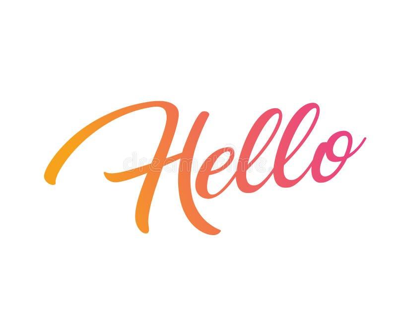Ροζ κλίσης απομονωμένη στην πορτοκάλι λέξη γραψίματος χεριών ΓΕΙΑ ΣΟΥ απεικόνιση αποθεμάτων