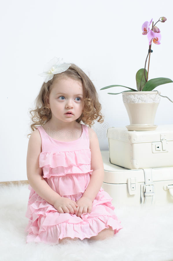 ροζ κοριτσιών φορεμάτων στοκ εικόνες